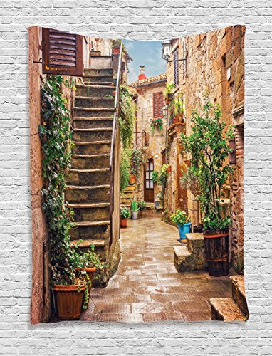 Ambesonne Tuscan Decor Tapestry, View an Old Mediterranean Street Stone Rock Houses in Italian City Rural Culture Print, Bedroom Living Room Dorm Decor, 40 W x 60 L inches, Multi