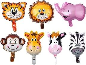 7 Pcs 40x30cm Aluminum Foil Balloon Cartoon Animal Balloon Party Supplies (Lion + Tiger + Pink Elephant + Giraffe + Cow + Monkey + Zebra) for Decor
