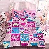 Hiiiman 3D impreso ropa de cama corazones en formas cuadradas geométricas celebrar ilustraciones infantiles de San Valentín (3 piezas, California King Size) edredón y dos fundas de almohada