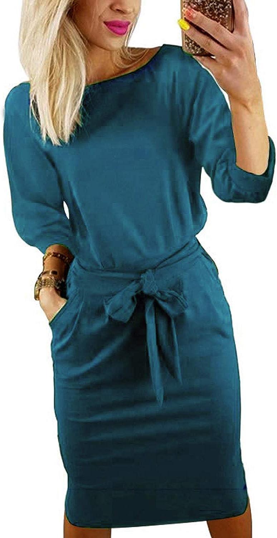 Short/Long Sleeve Dresses for Women Elegant Lantern Sleeve Ladies Casual Pencil Dress with Belt