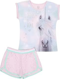 Wonder Nation Girls Unicorn 2 Piece Pajama Short Set Pink