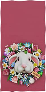 Naanle Cut Bunny in Eggs Flower Wreath Easter Greeting Design Soft Absorbent Guest Hand Towels Multipurpose for Bathroom, Hotel, Gym and Kitchen (16