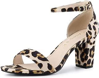 Allegra K Women's Open Toe Ankle Strap Chunky High Heel Sandals