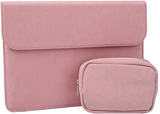 Soyan 13-inch PU Leather Laptop Sleeve with Accessories Case, Compatible with New MacBook Air/Pro Model A1932/A1989/A1708/A1706, Surface Pro (Pink)