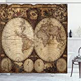 Ambesonne World Map Shower Curtain, Old World Map Drawn in 1720s Nostalgic Style Art Historical Atlas Vintage Design, Cloth Fabric Bathroom Decor Set with Hooks, 70' Long, Multicolor