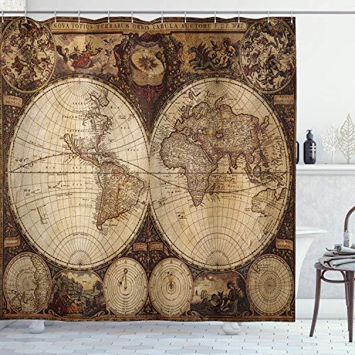 ABAKUHAUS Weltkarte Duschvorhang, Historische alte Atlas, Wasser Blickdicht inkl.12 Ringe Langhaltig Bakterie & Schimmel Resistent, 175 x 200 cm, Multicolor