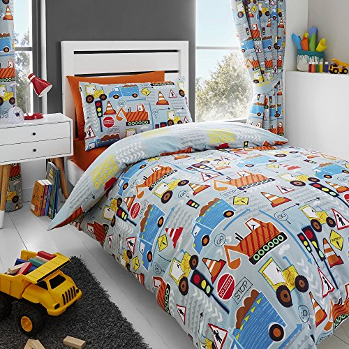 Happy Linen Company Kids Boys Big Digger Trucks Grey Double Reversible Duvet Cover Bedding Set