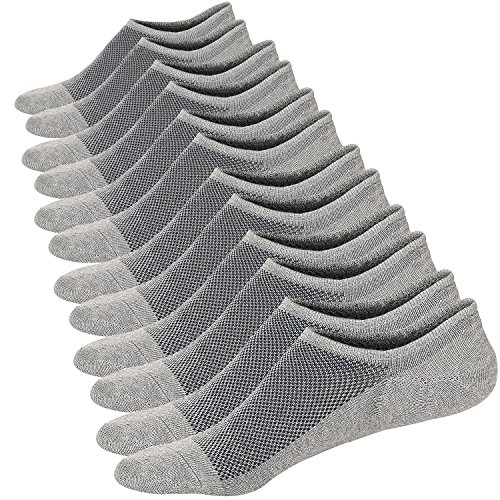 Homme Chaussettes Basses Respirantes Courtes Socquettes de Sport en Coton Confortable Basiques Chaussettes,6 Paires Gris,Taille: 44-48