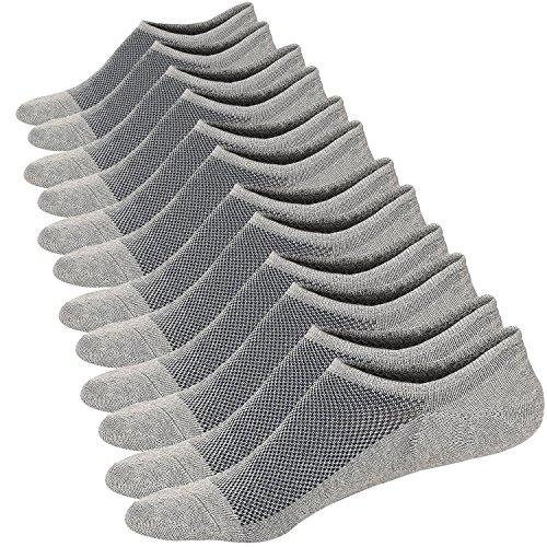 Sneaker Ballerina Socken Atmungsaktiv Herren Unsichtbar Kurzsocken Baumwoll Knöchelsocken Sportsocken (Größe: 44-48, Grau (6 Paar))