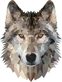 Grey Wolf Geometric Artistic Decal - Five Inch Tall Full Color Decal On 3M Reflective Material