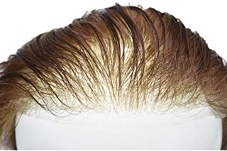 """LYRICAL HAIR System Ultra Thin Skin V-looped Men Toupee 0.03mm Transparent Poly Hairpiece Remy Human Hair Replacement 8""""X10"""" (80% Very Light Density, 2# Darkest Brown)"""
