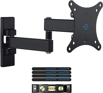 """deleyCON Soporte Universal de Pared para TV 13""""-27"""" Pulgadas (33-69cm) inclinable y rotatorio - 15Kg - hasta VESA 100x100 Plasma LCD LED OLED TFT"""