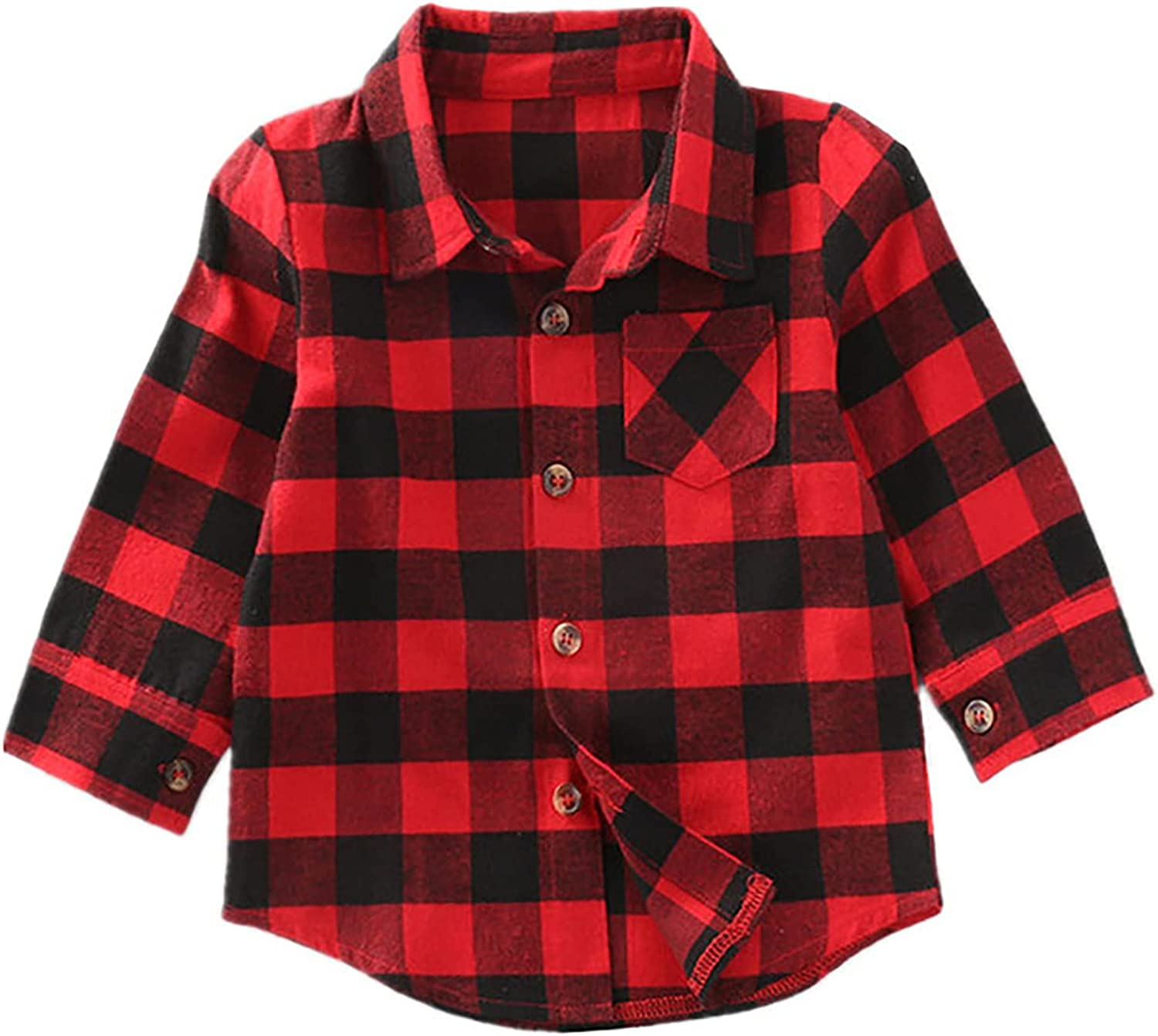 Toddler Baby Boys Plaid Flannel Button Down Shirt Kids Long Sleeve Top