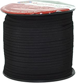 Mandala Crafts 100 Yards 2.65mm Wide Jewelry Making Flat Micro Fiber Lace Faux Suede Leather Cord (Black)