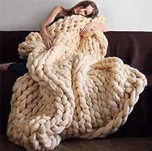 EXQUILEG Gruby, dziergany, miły w dotyku koc, na sofę, wykonany ręcznie, bardzo duży, haftowany, dekoracja domu, prezent (...