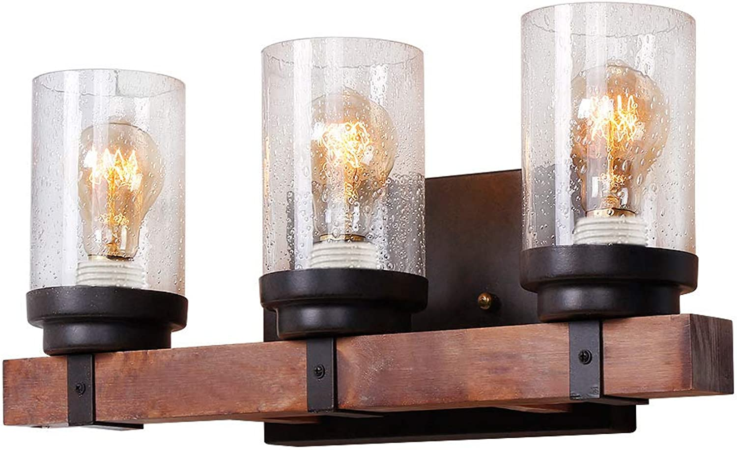 Anmytek Wall Lamp Wooden Wall Light Wall Sconce Fixture with Bubble Glass Shade (Three Lights)
