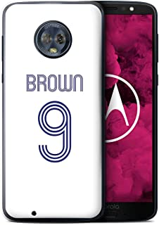 Personalized Custom Soccer Club Jersey Shirt Kit Case for Motorola Moto G6 2018 / White Blue Design/Initial/Name/Text DIY Cover