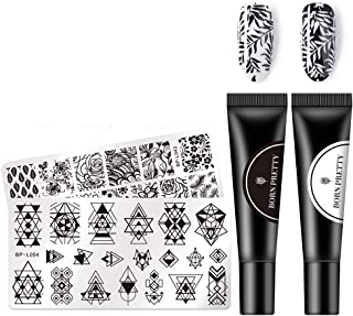 BORN PRETTY Nail Stamping Gel Black White manicuring Tools Kit with 2 Stamping Plate Snow Jelly Stamper for manicuring Printing