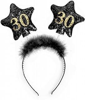 Partydeco Cerchietto Compleanno con Numero 30, Nero/Oro, Unisex-Adulto