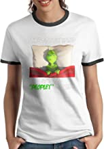 XXOOU Shop Grinch I Like to Stay in Bed It's Too Peopley Women's Ringer T-Shirt