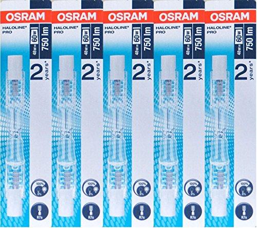 Osram Halogenstablampe Haloline, R7s, 230V, Länge: 78mm (48 Watt) 5 Stück