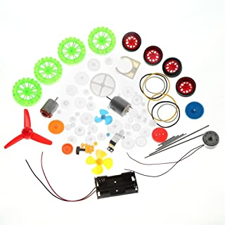 DIY Plastic Gears Kits, Toy Car DIY Gears Motors Pulleys Kit Assortment Toy Gears Worms Belts Bushings Pulleys Replacement Parts Kit