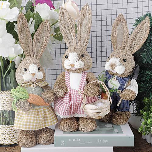 æ— Paquete de 3 figuras de conejo de Pascua de pie de 35,5 cm, conejo de Pascua tejido de paja con zanahoria para jardín de Pascua, fiesta, decoración del hogar, grandes regalos para niños ami