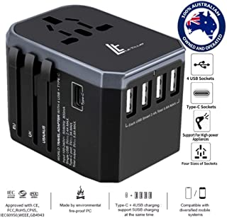 LE TILLAY Universal Travel Adapter 5.6A (MAX) - High Speed 2.4A - 4 USB and 1 Type-C for AU US EU UK - International Power Adapter - Universal Travel Adapter - Worldwide All in One Plugs Converter Smart Charger AC Power Wall Plug for Worldwide 150+ Countries like Europe Asia Japan Australia Middle East India Israel Germany France Italy India Africa China Russia American British European Adapter