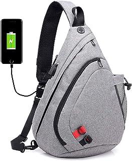 Djyyh Smart Charging Chest Bag Men's USB Camouflage Bag Smart Backpack Large Capacity Travel Outdoor Shoulder Bag Student Handbag (Color : Gray)