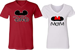 Mickey Dad Minnie Mouse Mom Family Couple Design V-Neck Shirt for Men Women