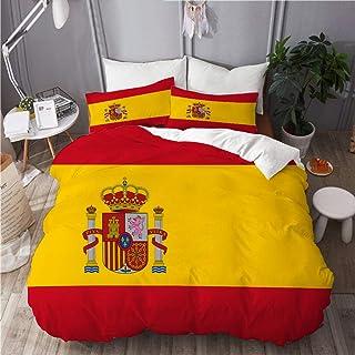 NOLOVVHA Bedding Juego de Funda de Edredón,Bandera española roja de España Armas Dimensiones precisas Proporciones y Colores Amarillo Oficial,Microfibra SIN Relleno,(Cama 140x200 + Almohada)