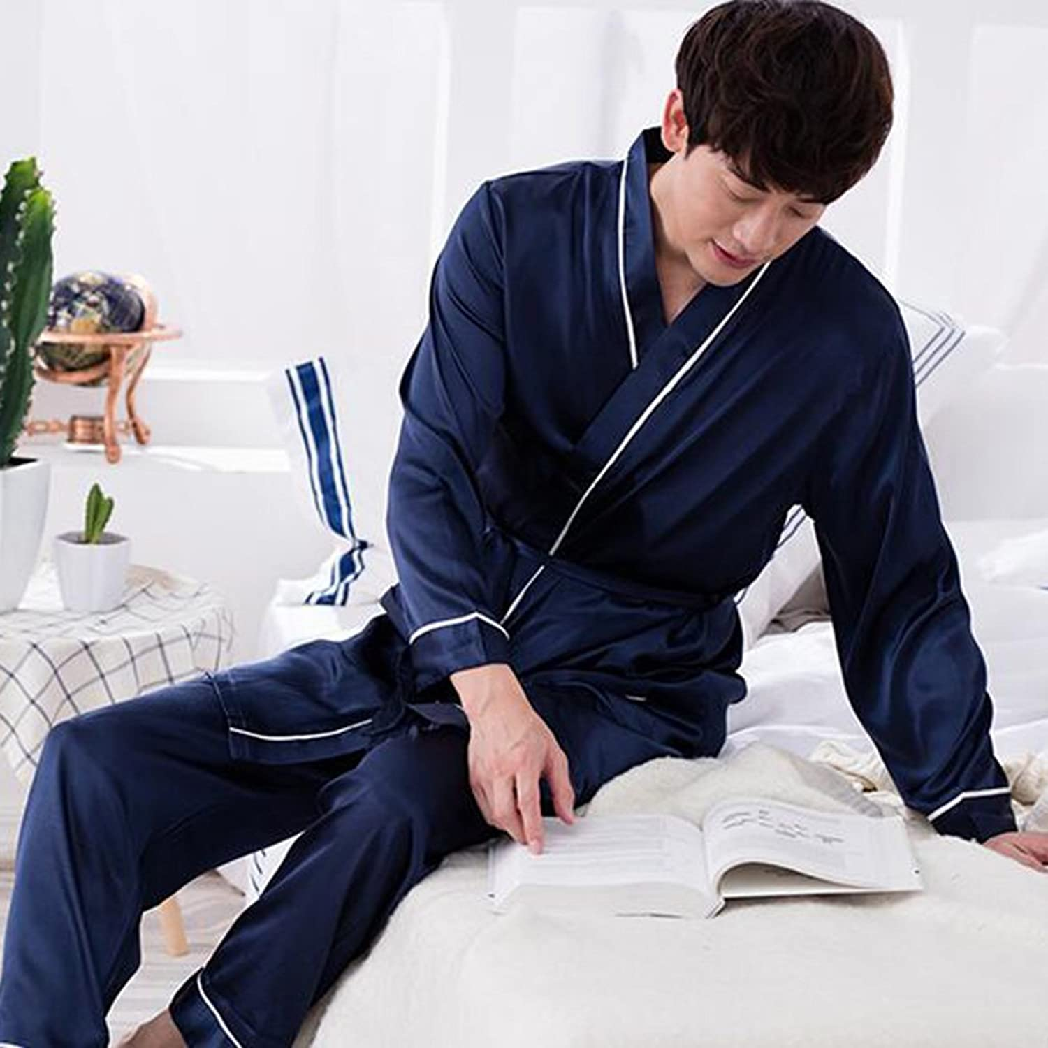 GJM Shop Bathrobes Male Thin Section Spring and Autumn Winter Long Section Nightgown Long Sleeve Top + Long Pants Two Sets Pajamas Sexy Yukata L XL XXL XXXL (Size   XXXL)