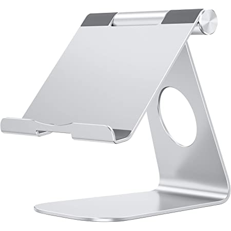 OMOTON Supporto Tablet Regolabile, Porta Tablet, Dock da Tavolo per Corsi Online e Video, Universale Stand in Alluminio per iPad Air 4, iPad 8, PRO 12.9, Samsung Galaxy Tab, Altri Tablet, Argento