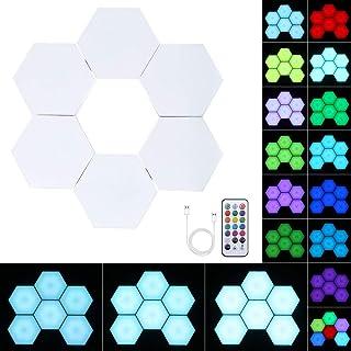 PopHMN Paneles De Luz Led Inteligentes Iluminación De Humor Con Cambio De Color, Detección Táctil, Fácil De Instalar Control Remoto Con Cambio De Color Luces De Panal 6 Piezas