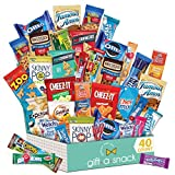 Variety Snack Care Package (40 Count) Gift Box for Teens - Fathers Day Goodie Food Arrangement for Dad - Birthday Candy Basket for Men, Women, Boys, Girls, Kid, Adult, College Student - Prime Delivery