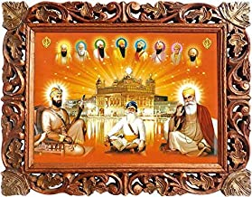Sikh Religious Guru, Guru Gobind Singh Ji and Guru Nanak Dev ji Baba Deep Ingh Ji Poster Painting with Hand Carved Wood Craft Frame, Must for Sikh Religious People for Home and Office