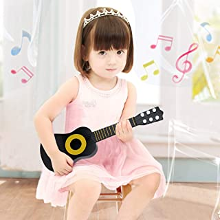 WEY&FLY Kids Toy Guitar 6 String,17 Inch Baby Kids Cute Guitar Rhyme Developmental Musical Instrument Educational Toy for Toddlers (Black/Yellow)