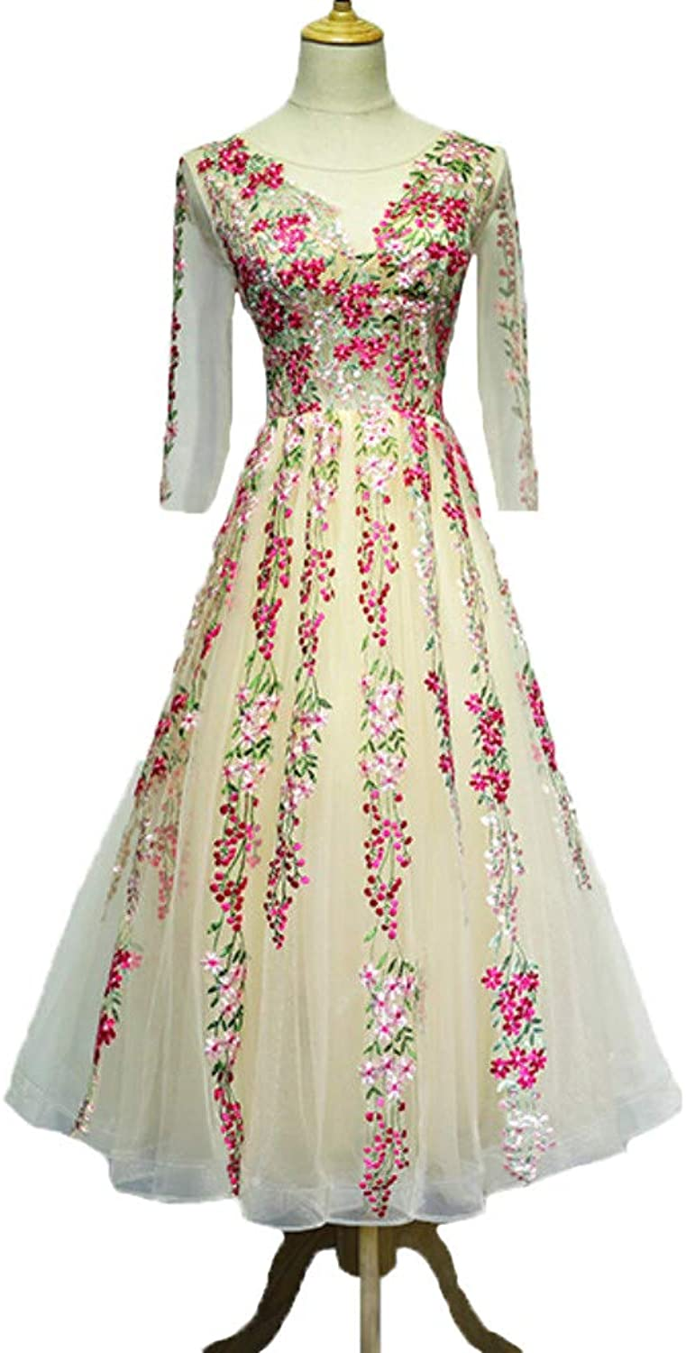 Liaoye Women's Long 3D Flower Lace Embroidery Prom Formal Dress Evening Party Gown