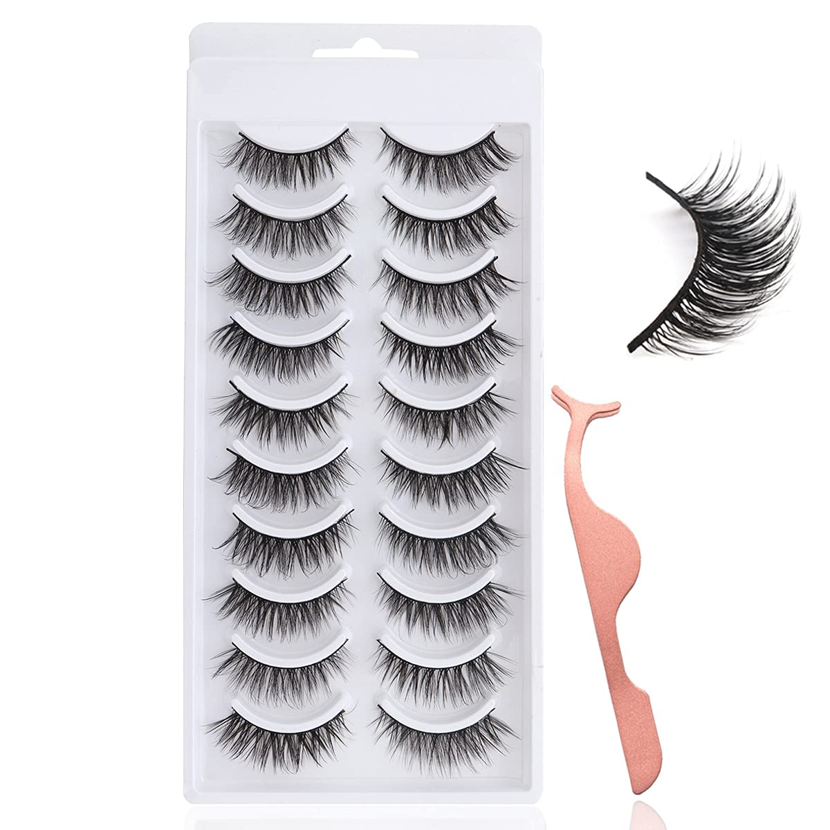 Lansteen False Eyelashes 10 Pairs 3D Classic Look V Fluffy excellence Natural Wispy