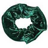 De gran tamaño esmeralda color verde y negro elástico sensación de terciopelo con cierre de pelo de goma de con pompón para el pelo de los miembros de