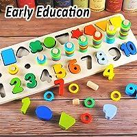 Afufu Giochi Bambini 3+ Anni, Giocattoli Educativi Montessori da Puzzle in Legno, Anelli impilabili per Imparare la Matematica Contare e Imparare i Colori, Giochi Educativo Set Regalo per 3 4 5 Anni #1