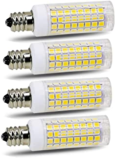 E11 LED Bulb,Dimmable, 8W (80W 100W Halogen Bulbs Equivalent), JD E11 Mini Candelabra Base, 6000K Daylight for Chandeliers Ceiling Fan Light, Pack of 4