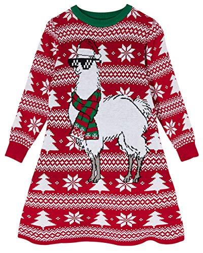 Goodstoworld Strickkleid Für Kinder Mädchen Xmas Basic T-Shirt-Kleid Bunte Weihnachten Wolle Warmes Strickkleider 128 Knielang Alpaka Elegantes L