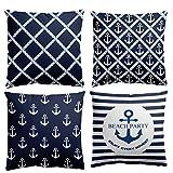 HuifengS Kissenbezüge, quadratisch, strapazierfähige Baumwolle, weich, marineblau mit Anker-Motiv,...