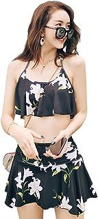 水着 レディース ビキニ フレア バンドゥ ブラ 上下2点セット ワイヤー入り パット付き ホルターネック 大花柄 Angel Luna(エンジェルルナ)