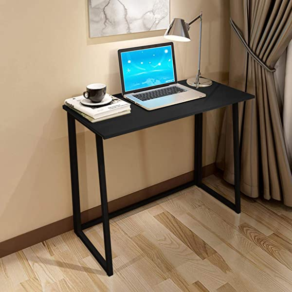Chenway Desktop Table Home Foldable Laptop Table Office Desk For Bedroom Small Space Desk Black 31 5x17 7x29 1inches Ship From USA Directly