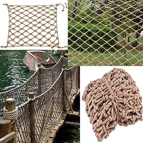 GZHENH Rope Net Decor Net,Climbing Net Anti-fall Net Safety Fence Multifunctional Wear-Resistant Safety Hemp Rope Mesh (Color : Beige-20cm, Size : 3x7m)