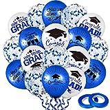 Whaline 60Pcs Graduation Party Balloon Set 7 Designs Blue White Confetti Latex Balloon with 2 Rolls Blue Ribbon Grad Cap Congrats Grad Balloon for Graduation Party Decoration Supplies