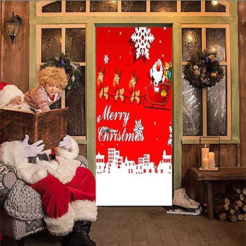 YXGMT 3D Türposter Innentür Selbstklebend Türtapete Türfolie Weihnachten Element Kreativität 90X210Cm - Diy Fototapete Türfolie Tapete Wohnzimmer Küche Schlafzimmer Wandaufkleber Bar Büro Kinder