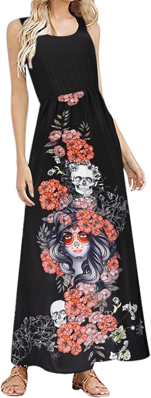 Women Plus Size Formal Dresses, Loose Fit Waisted Vintage Oversize O Neck Skull Summer Sleeveless Tank Maxi Sundress